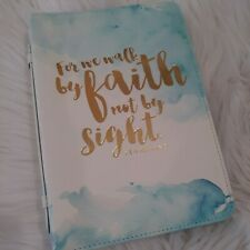 Eccolo Bible Cover New For We Walk by Faith 2 Corinthians 5:7 blue pocket handle