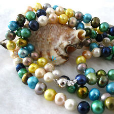 """Freshwater Pearl Necklace C 54"""" 6-8mm Multi Color"""