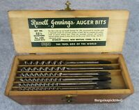 Stanley RUSSELL JENNINGS Auger Drill Tool Bits 32-1/2 Quarters No.100 n Wood Box