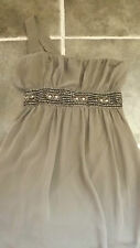 """GLAMOROUS MEDIUM BROWN BEIGE BEADED JEWEL OFF ONE SHOULDER PARTY DRESS CHEST 34"""""""