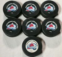 Lot of 7 Colorado Avalanche Pucks NHL Hockey Puck Vintage 90s