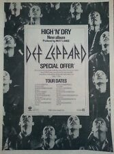 Def Leppard rare 1981 Full Page Uk Tour print ad, High & Dry Tour, 12x16 inches
