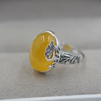 New 925 Sterling Silver with Natural Oval Yellow Chalcedony Ring Size: 5-10