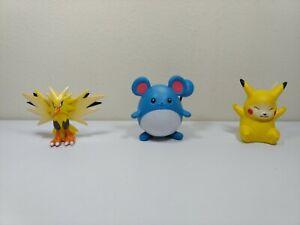 Pokemon Nintendo Tomy Figurine Zapdos Pikachu Marill Lot of 3 Vintage Original