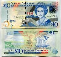 EAST CARIBBEAN 10 DOLLARS ND 2015 P 52 b UNC