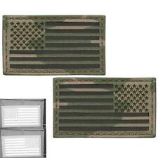 Bundle Set of 2 USA Flags Forward Reversed Multicam Laser Touch Fastener Patches