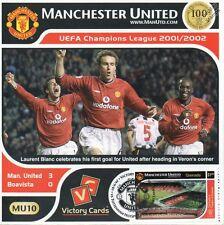 MAN U 2001-02 Boavista (Laurent Blanc) UEFA Football Stamp Victory Card #110