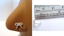 Sterling Silver Nose Stud Pin Ring L Shape Clear Crystal Bow Ribbon 20g 20 gauge