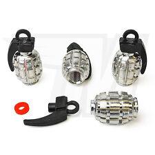 4x Tapón De La Válvula Metal para Neumáticos coche, GRANADA MANO Cromo Negro