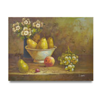 NY Art - 12x16 Country Fruit & Flowers Still-Life Oil Painting on Canvas - Sale!