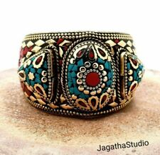 Tibetan Cuff Bracelet Turquoise and Coral Inlaid Ethnic Statement Nepali Jewelry