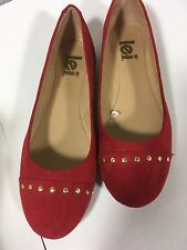 L.E.I.  Ballet Flats sz 9.5 M in Red Suede Velvet Fabric w/ Brass Studs