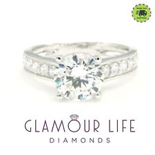 2 Ct Round Cut Diamond Solitaire Solid 14K White Gold Engagement Wedding Ring