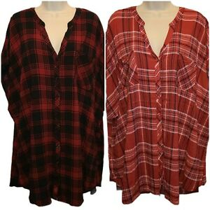 Torrid Lot of 2 Plaid Button Front Tops Shirts Size 5 Rayon