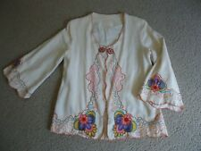 Vtg 60's Embroidered Open Jacket Linen Boho Hippie Flower Power Psychedelic Wow!