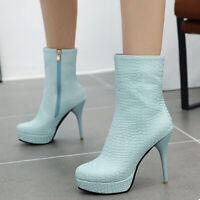 Women Short Ankle Boots Platform Round Toe Zip Stiletto High Heel Winter Booties
