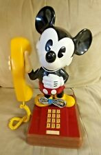 VINTAGE 1976-77 MICKEY MOUSE PUSH BUTTON TELEPHONE WITH ORIGINAL YELLOW CORD