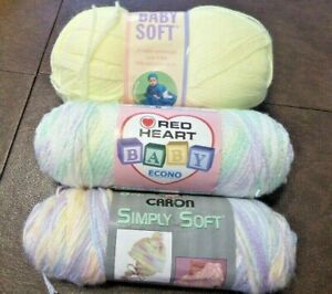 Mixed Lot Baby Yarn Lion, Caron, Red Heart Brands Pastel Colors Lot of 3