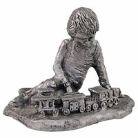 Michael Ricker Boy Playing With Train Pewter Figurine Artist Proof Metal Vintage
