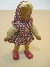 OLD VINTAGE WOOD HAND MADE SMALL GIRL DOLL WITH LARGE FEET