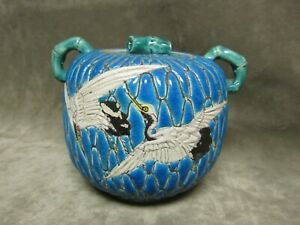 Meiji Japanese Pottery Majolica Satsuma Moriage Sugar Bowl w/Crane Birds Design