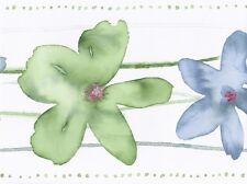 Cream Green Blue Watercolor Floral Wallpaper Border 78167 CT