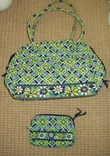 Vera Bradley Blue and Green Daisy Bag with Smaller, Cosmetic Purse