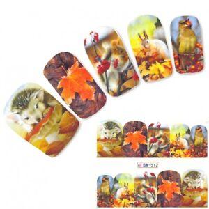 Tattoo Nail Herbst Eichhörnchen Bunte Blätter Aufkleber Nagel Sticker Nägel