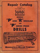 MINNEAPOLIS-MOLINE P,R PRES DRILL REPAIR PARTS  MANUAL 1952
