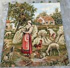 16685 Vintage French Pictorial Tapestry, Amazing Wall Hanging Home Decor 2x3 ft