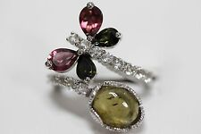 .925 Sterling Silver /Colors Of Tourmaline / White Topaz Ring .
