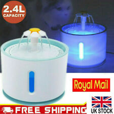 2.4L USB LED Automatic Electric Pet Water Fountain Cat/Dog Drinking Dispenser UK