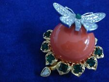Kenneth Jay Lane Treasures of The Duchess Butterfly Coral Brooch-New