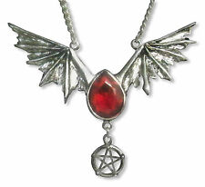 Gothic Bat Wings with Pentacle and Red Austrian Crystal Pendant Necklace NK-501R