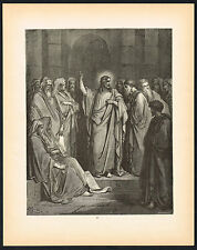 1880s Original Antique Jesus Synagogue Christian Dore Art Engraving Print