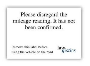 Vehicle Mileage Disclaimer Stickers for selling cars with mileage not confirmed