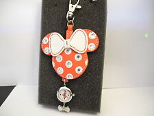 DISNEY MINNIE MOUSE CLIP WATCH W/CRYSTALS & CHARM NEW  CLEARANCE