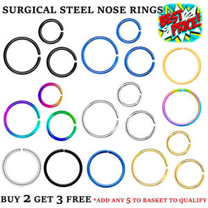 NOSE RING SURGICAL STAINLESS STEEL SMALL BODY PIERCING HOOP SEPTUM LIP HELIX EAR