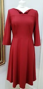 LK Bennett Cranberry DR Lima Ponti Dress Size 12