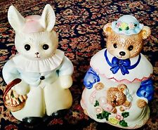 "Pair of 12""/30cm Antique Victorian Hand Painted English Porcelain Cookie Jars"