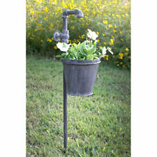 Primitive/Country Faucet Garden Stake w/ Planter Rustic