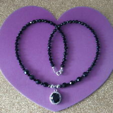 """Beautiful  Necklace With Faceted Onyx 16"""" Inches Long + Pendant In Gift Box"""