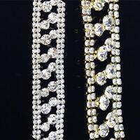 1 Yard Bling Crystal Rhinestone Chain Gold/Silver Applique Costume Dress Trim