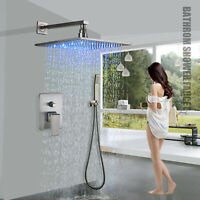 Brushed Nickel Shower Faucet 8 inch Rain LED With Hand Shower Complete Kit Mixer