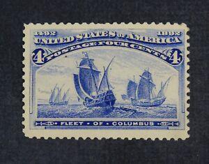 CKStamps: US Stamps Collection Scott#233 4c Columbian Mint OG Gum Bend