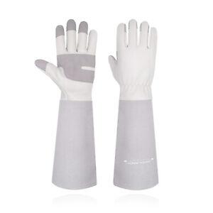 Gardening Gloves Leather Long Sleeve Thorn Proof Garden Gauntlet  for Women Men