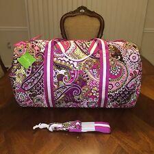 NWT Vera Bradley Round Duffel Travel Bag in Very Berry Paisley