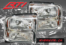 05-07 Ford F250 F350 Super Duty Chrome Housing Headlights with Amber Reflector