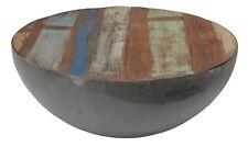 DESIGN Couchtisch Mango Holz Kurt metall rund Beistelltisch Halbkugel 80x32cm