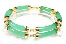 Two Rows Natural Light Green Jade Yellow Gold Plated Clasp Bangle Bracelet